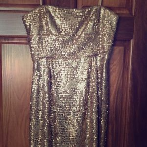 BCBGMAXAZRIA Gold sequin dress